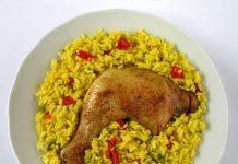 Arroz con Pollo recipe in white dish