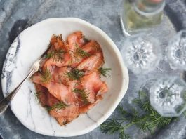 Cured salmon gravlax in dill