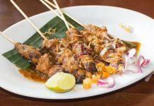 Chicken sate ayam with peanut sauce