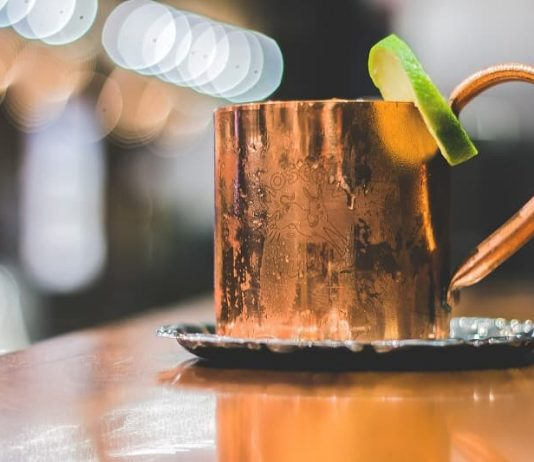 Moscow mule in cold mug