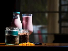 smoothie with healthy seeds inside
