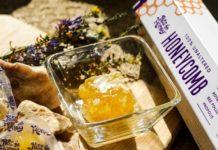 raw honey in bowl honeycomb